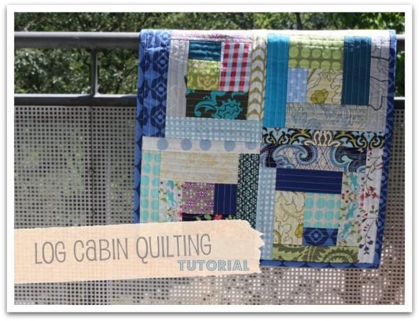 Log Cabin Quilt aus Stoffresten