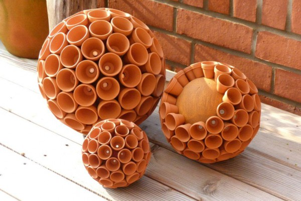 Tontopfkugel handmade kultur for Terracotta gartendeko