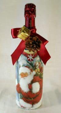 Geschenkflasche Sekt  zu Weihnachten selbst gestalten