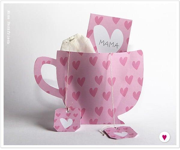 Teetassenkarte für Teebeutel