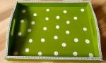 Polkadot Tablett mit Spitzenbordüre