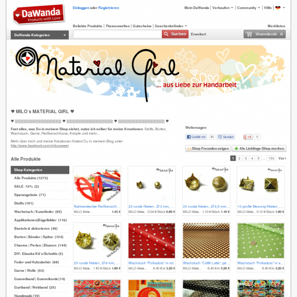 Screensho  de.dawanda.com/shop/MILO-Material-Girl?sold_products=true