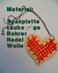 DIY: Herzanhänger aus Holz mit Kreuzstich