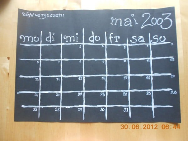 Entwurf Kalenderblatt von Anja