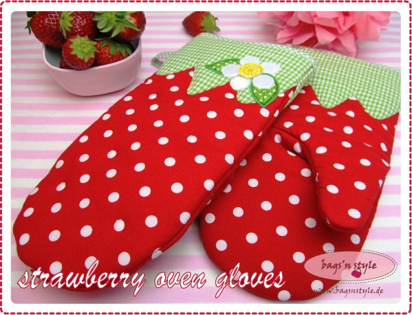 Erdbeertopflappen - Topfhandschuhe Erdbeere