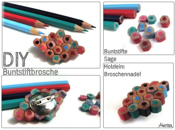 DIY - Kunterbunte Bunstiftbrosche