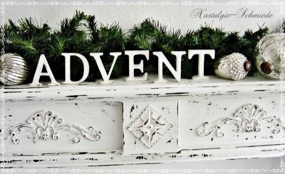 Schriftzug Holzbuchstaben Advent Shabby chic