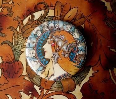 """Taschenspiegel """"Mucha - Zodiac"""""""
