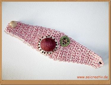 "Creativling ""Herbstrose"" - gehäkeltes Armband"