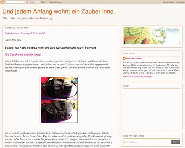 Screenshot  www.madamecoudre.blogspot.de