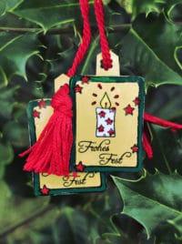 Geschenkanhänger aus alten Joghurtdeckeln