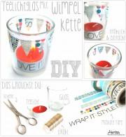 DIY - Kerzenglas mit Wimpelkette