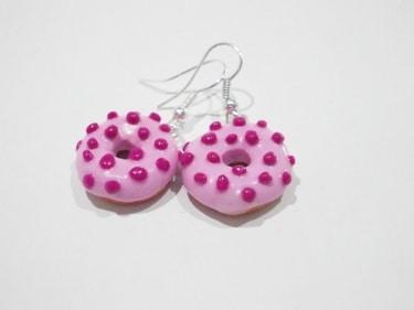 Himbeer Donut-Ohrhänger
