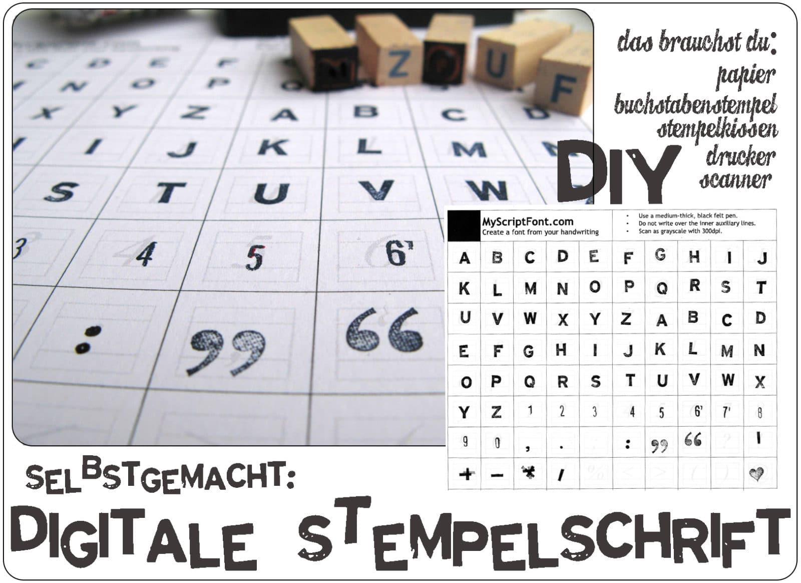 diy stempel schriftart selber machen handmade kultur. Black Bedroom Furniture Sets. Home Design Ideas