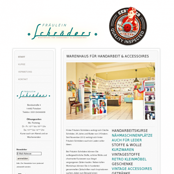 Fräulein Schröders Warenhaus für Handarbeiten und Accessoires