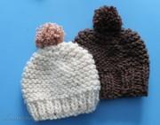 Einfache Pudelmütze aus dicker Wolle stricken
