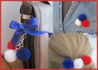Anhänger und Haarspange aus Pompoms!