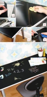 Kinderschreibtisch mit Tafelfolie bekleben