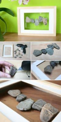 Schwebende Steine im Rahmen