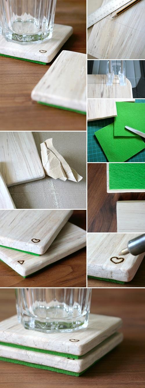 Untersetzer aus Holz und Filz