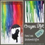 Crayon Art - bunter Regenschauer aus Wachsmalstiften