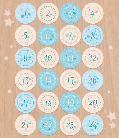 Adventskalender Zahlen 24 Aufkleber 40mm Geschenke Bei