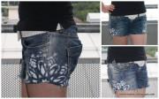 Jeansshort mit Stofffarbe verschönern