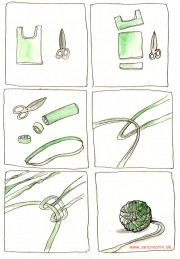 Garn aus Plastiktüten spinnen