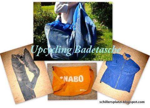 Jeans + Jacke + Tasche = Familienbadetasche