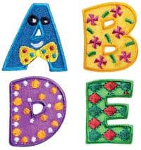 Applikation Buchstaben A, B, D, E