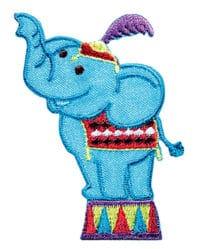 Applikation Elefant im Zirkus blau/bunt