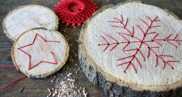 Baumscheiben Mit Fadengrafik Handmade Kultur