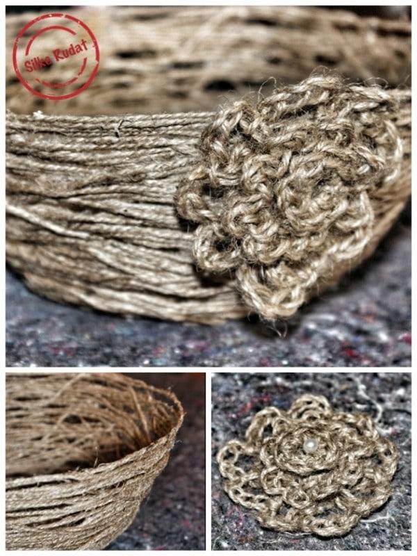 Blumige Schale aus Paketschnur