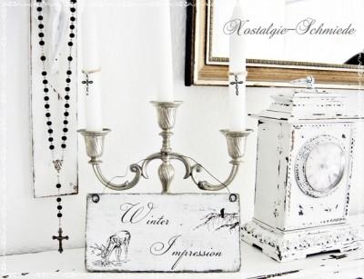deko schild winter impression im shabby chic stil geschenke bei handmade kultur. Black Bedroom Furniture Sets. Home Design Ideas