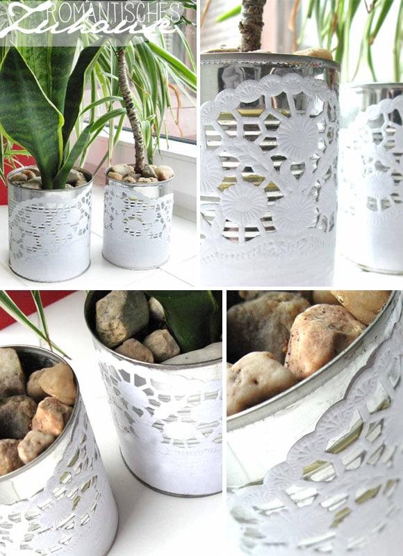 [diy] Blumentöpfe aus Tortenspitze und Konservendose