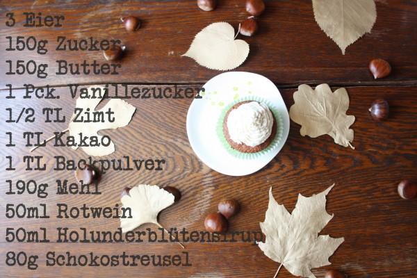Holundercupcakes mit Maronen – Frischkäse – Creme