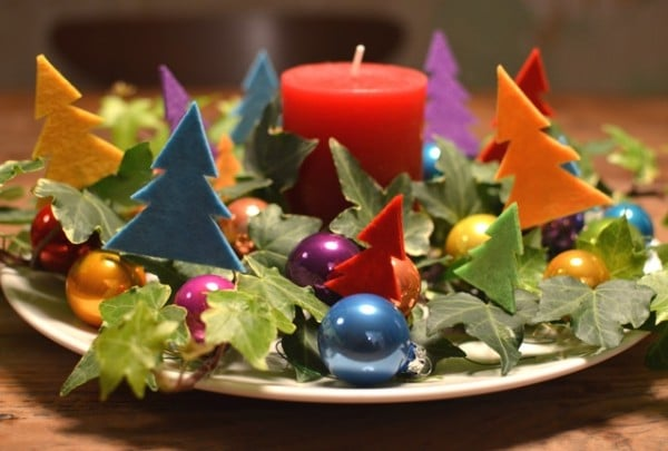 BUNTES Adventsgesteck & Weihnachtsdekoration