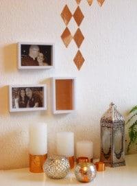 DIY Kerzen Deko und Wandsticker im Kupfer Look