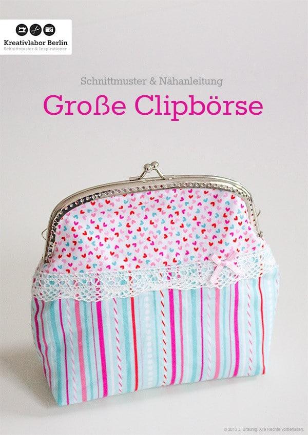 Große Clipbörse: Eine kleine Handtasche / Kosmetiktasche mit Taschenbügel