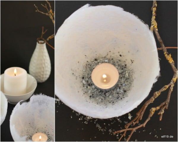DIY: Hauchdünne Lichtschalen aus Pappmaché
