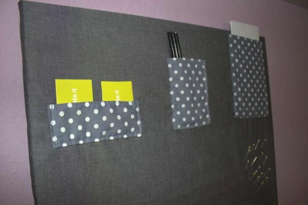Pinnwand mit Stoff bezogen