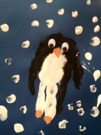 Handabdruck süßer Pinguin