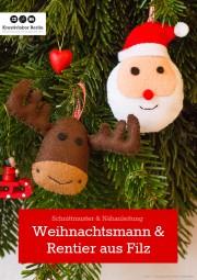 Weihnachtsbaum-Anhänger aus Filz: Rentier & Weihnachtsmann