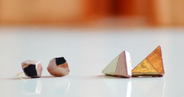 geometrische DIY Ohrringe aus Radiergummi