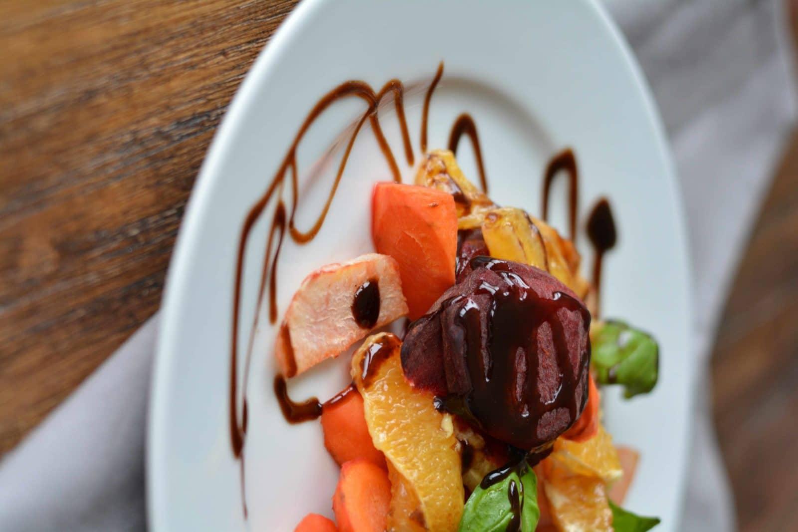 Schnelles Ofengemüse mit Orangen-Balsamico