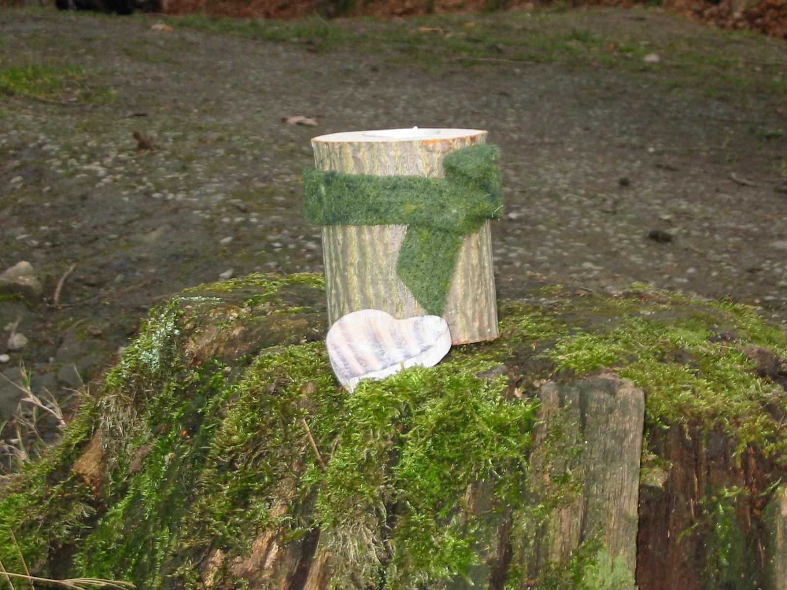 Baumstamm Teelichthalter Handmade Kultur