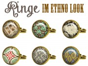 RING ETHNO FLORAL CABOCHON SHABBY