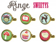 RING EULE PILZ DEERY CUPCAKE CABOCHON SHABBY