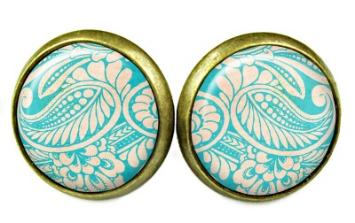 OHRSTECKER TÜRKIS FLORAL CABOCHON SHABBY
