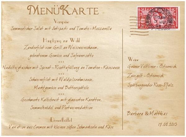 Menükarte im Stil einer Vintage Postkarte und als Tischname